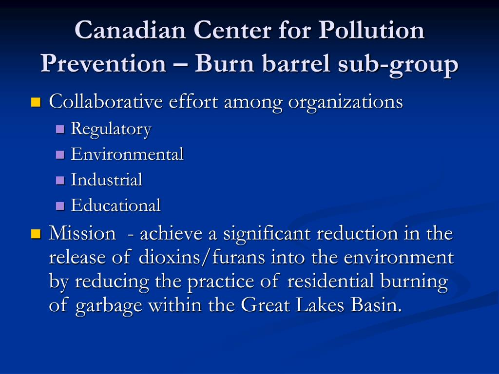 Canadian Center for Pollution Prevention – Burn barrel sub-group