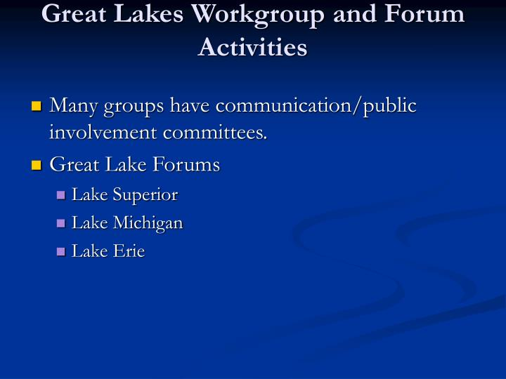Great lakes workgroup and forum activities