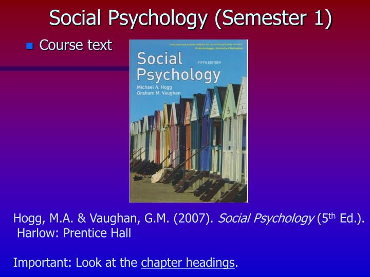Social psychology semester 1
