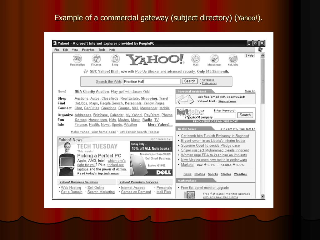 Example of a commercial gateway (subject directory) (