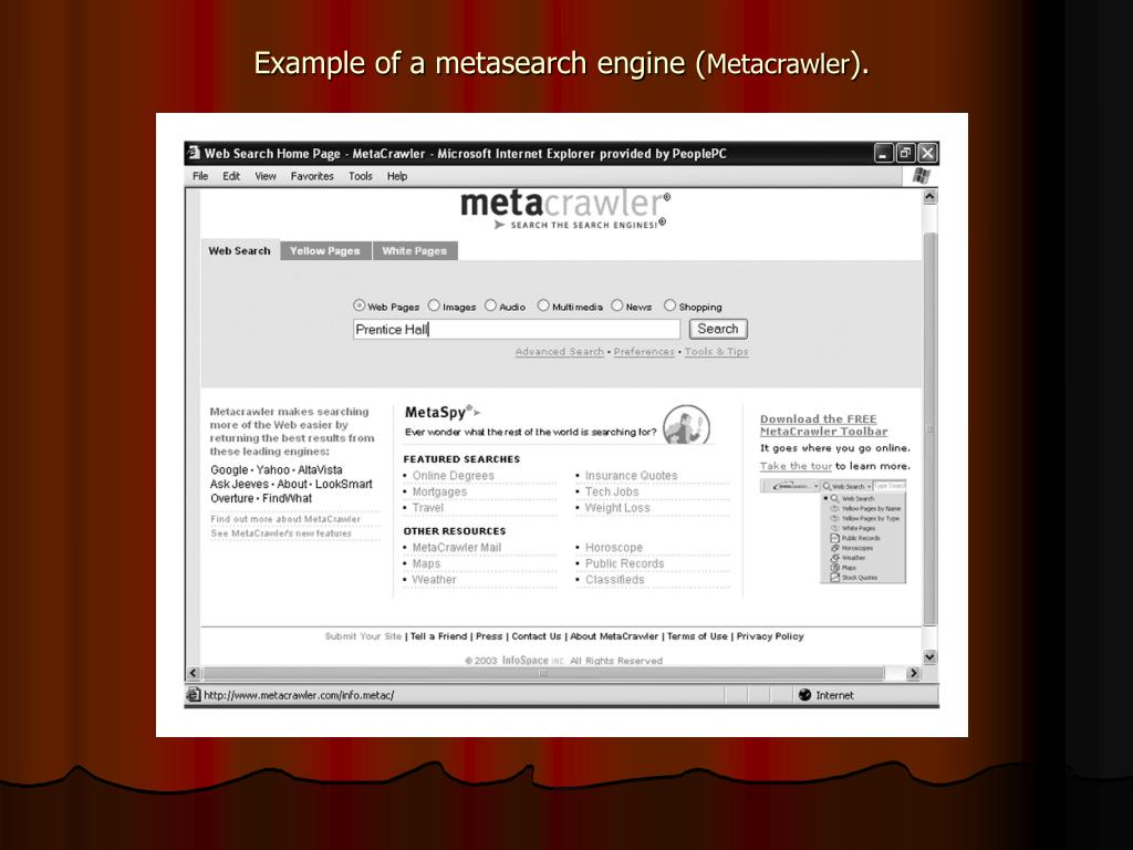 Example of a metasearch engine (