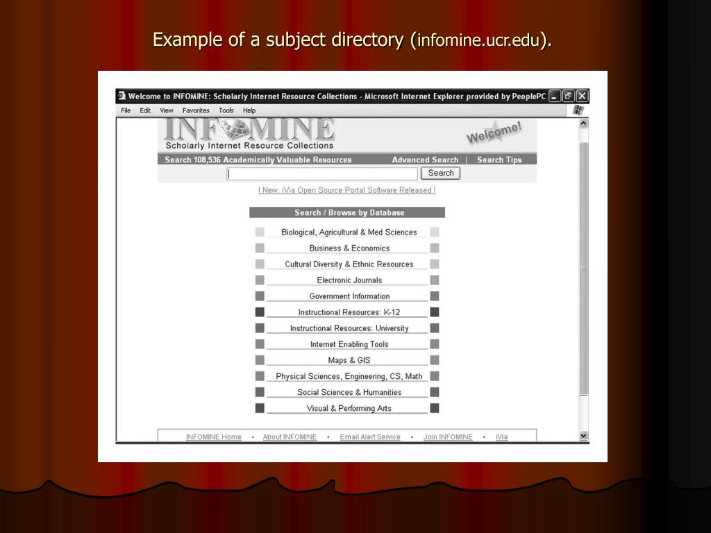 Example of a subject directory (