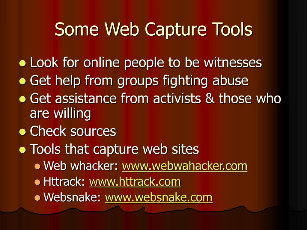 Some Web Capture Tools