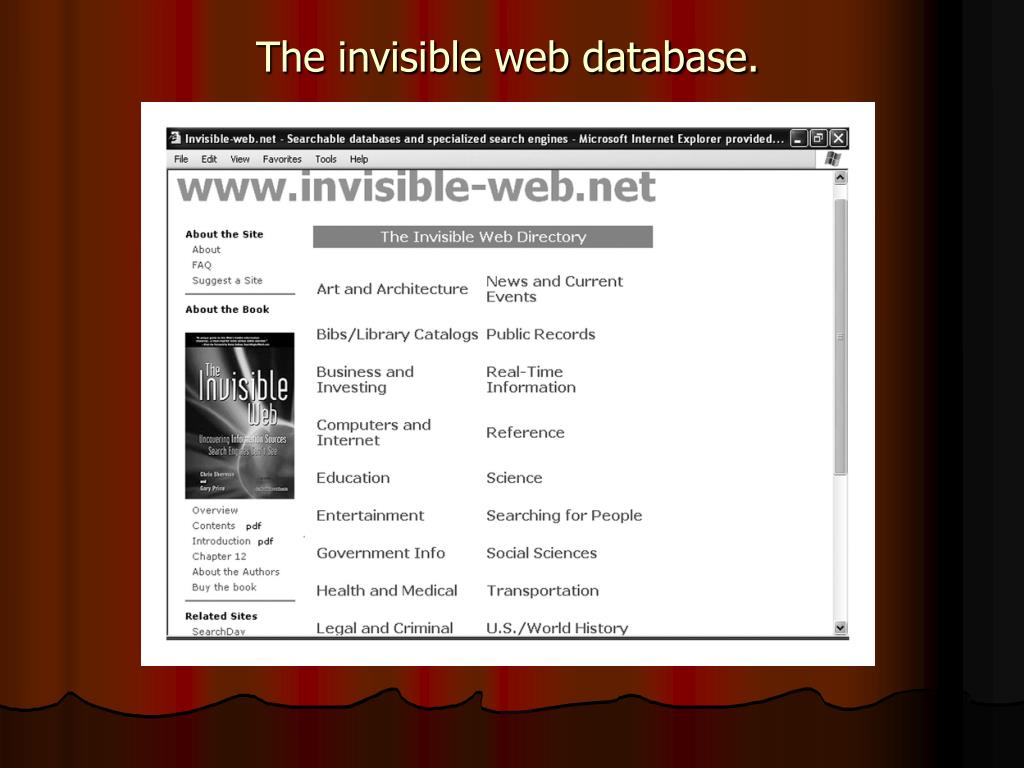 The invisible web database.