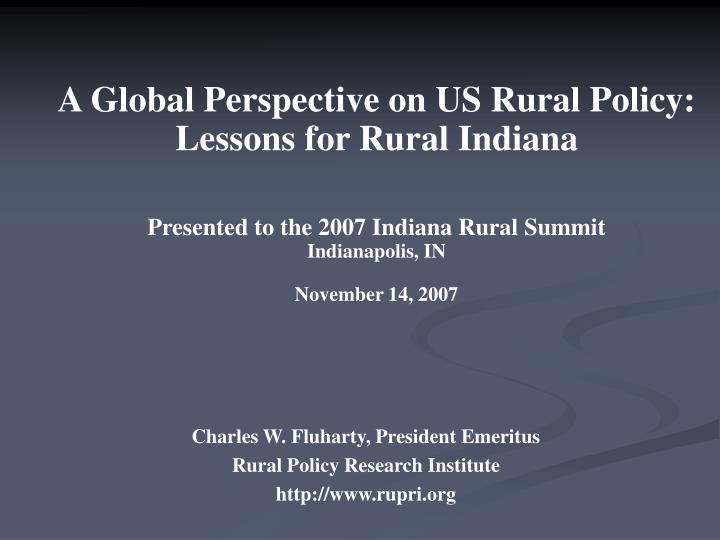 Charles w fluharty president emeritus rural policy research institute http www rupri org