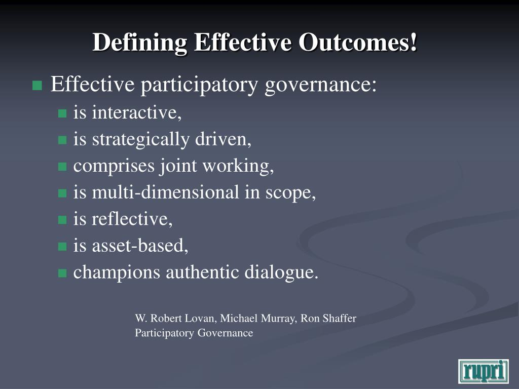 Defining Effective Outcomes!
