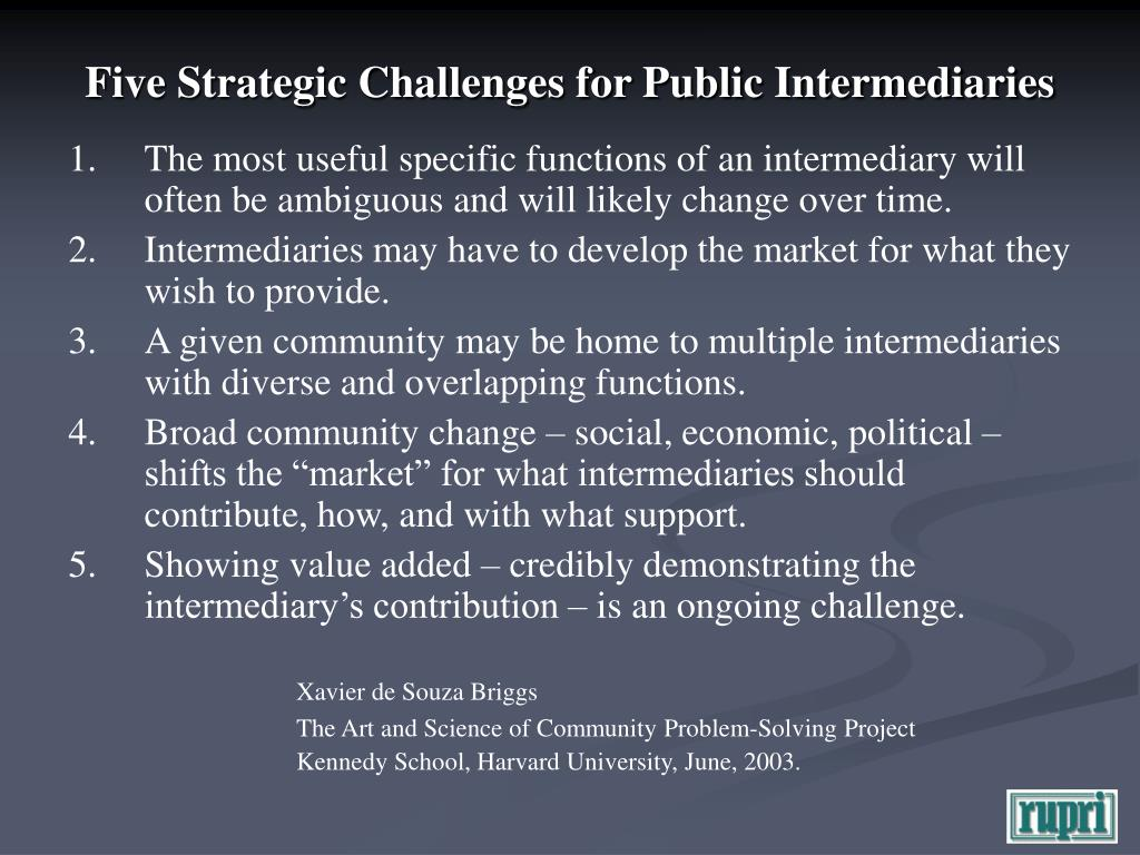 Five Strategic Challenges for Public Intermediaries