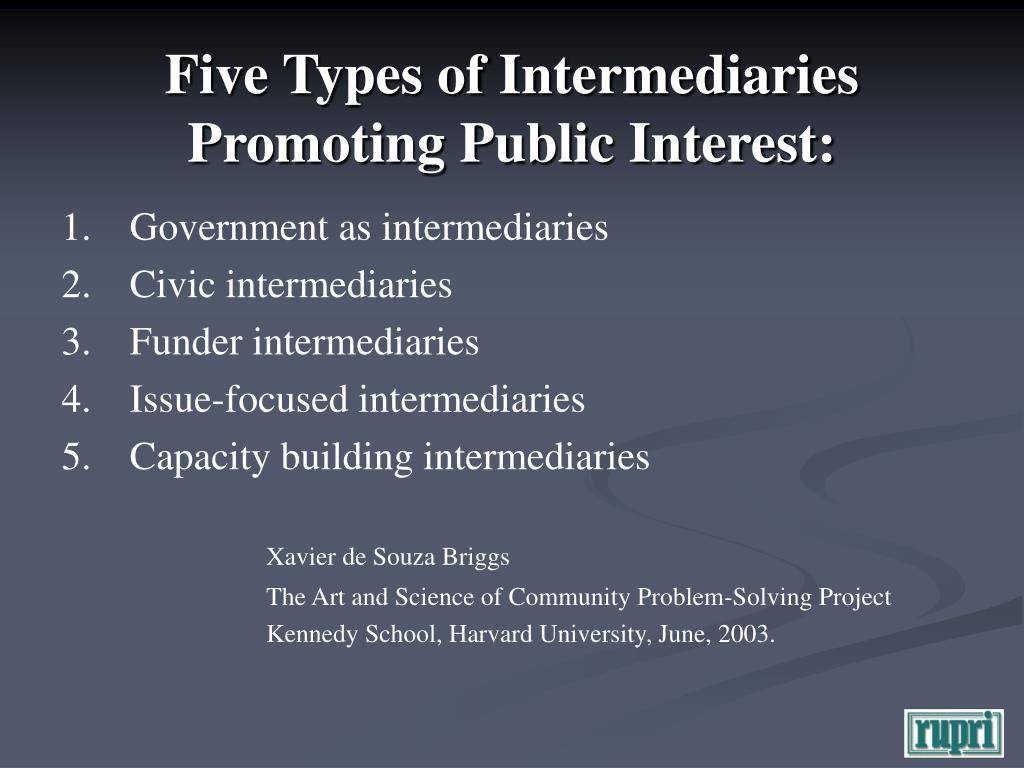 Five Types of Intermediaries Promoting Public Interest: