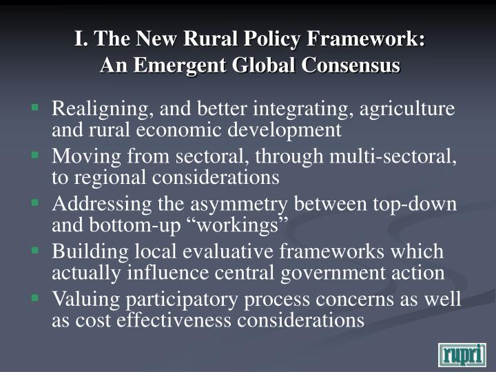 I the new rural policy framework an emergent global consensus