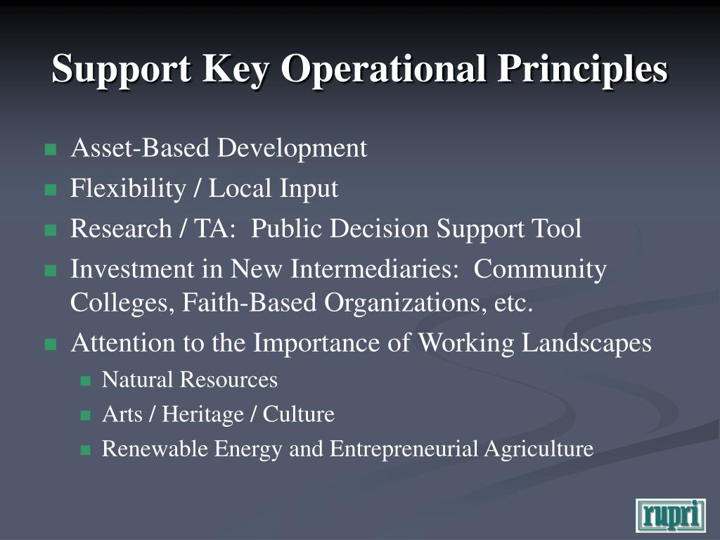 Support Key Operational Principles