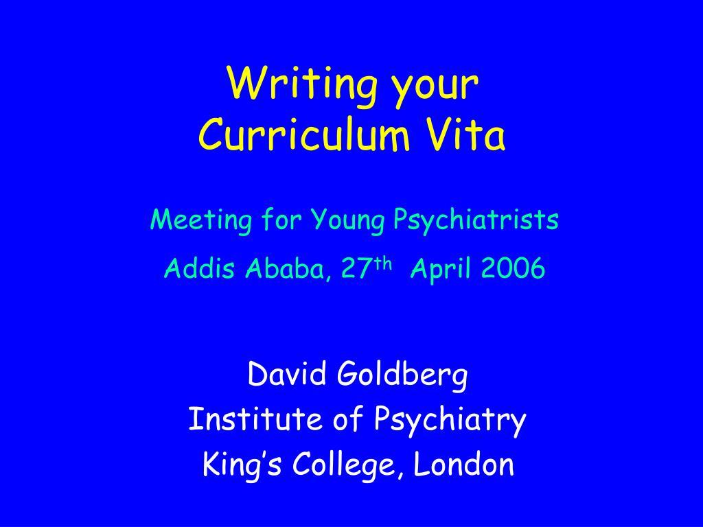 writing your curriculum vita l.