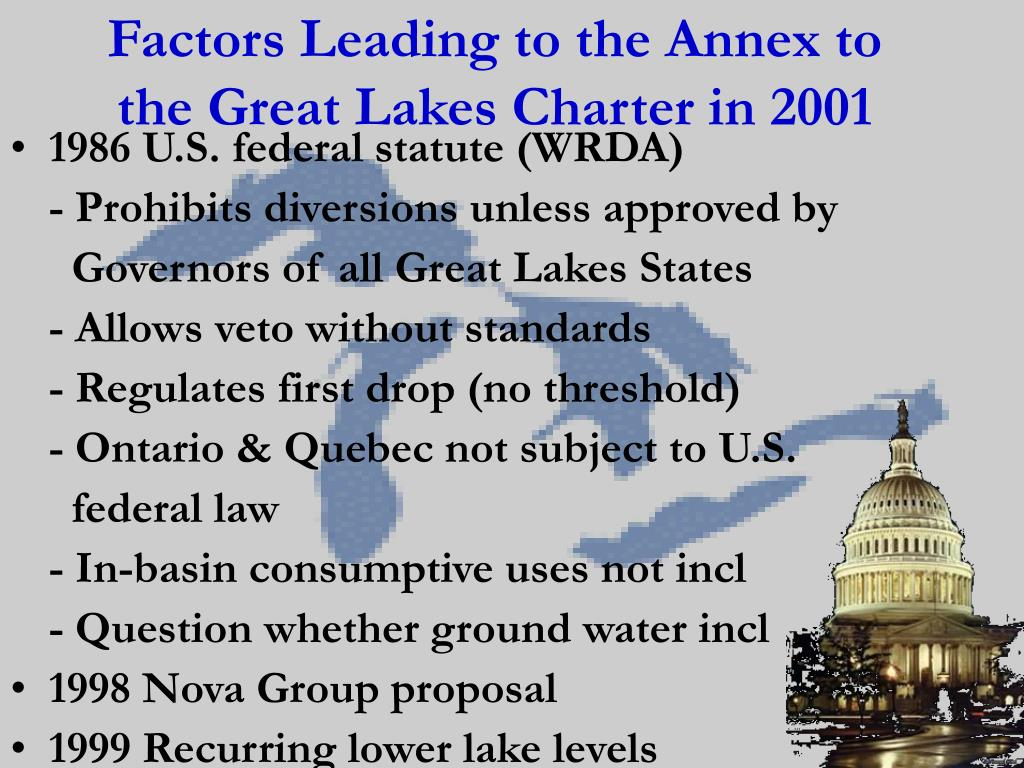 Factors Leading to the Annex to the Great Lakes Charter in 2001