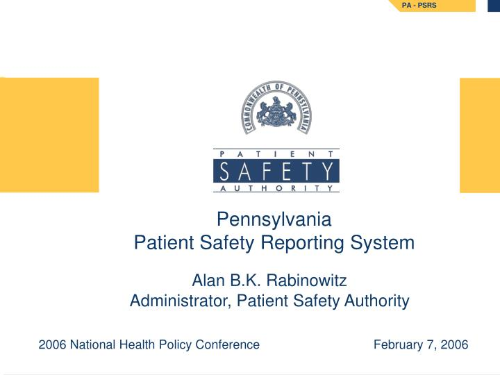 pennsylvania patient safety reporting system n.