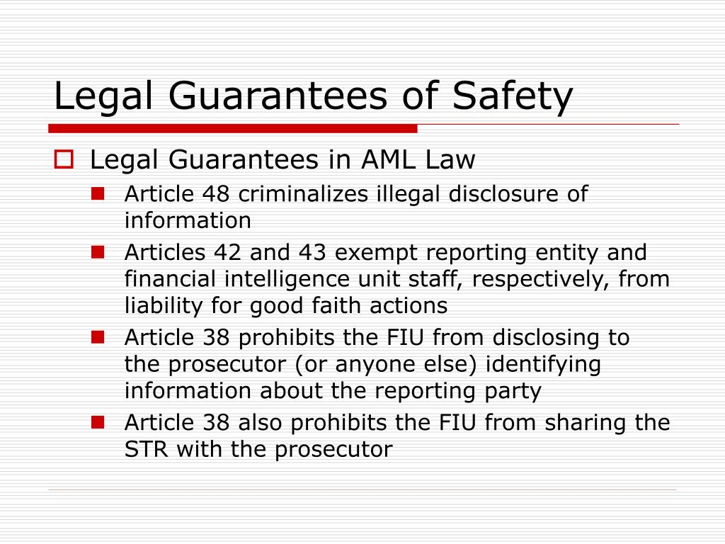 Legal Guarantees of Safety