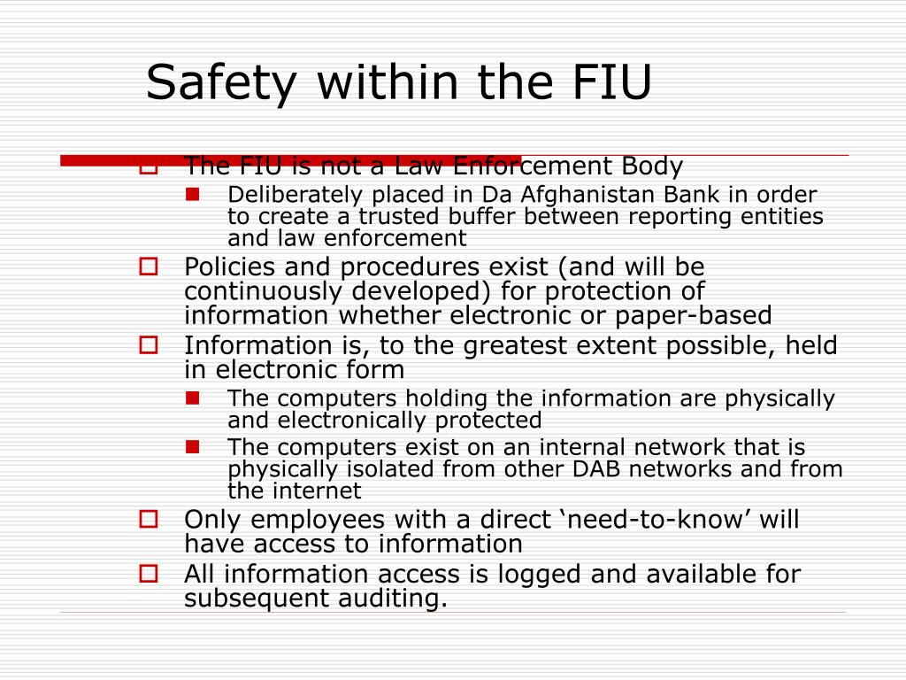Safety within the FIU