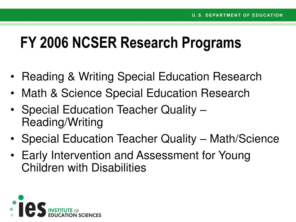 FY 2006 NCSER Research Programs