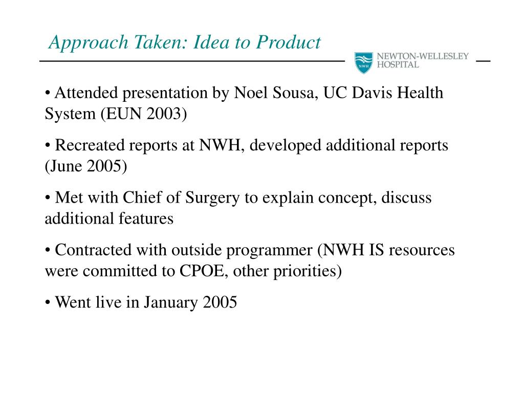 PPT - Newton-Wellesley Hospital Provider Dashboard NESHMM March 29
