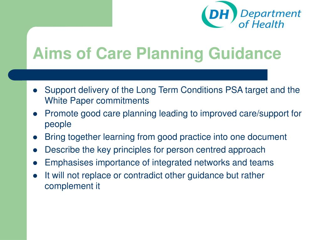 Aims of Care Planning Guidance