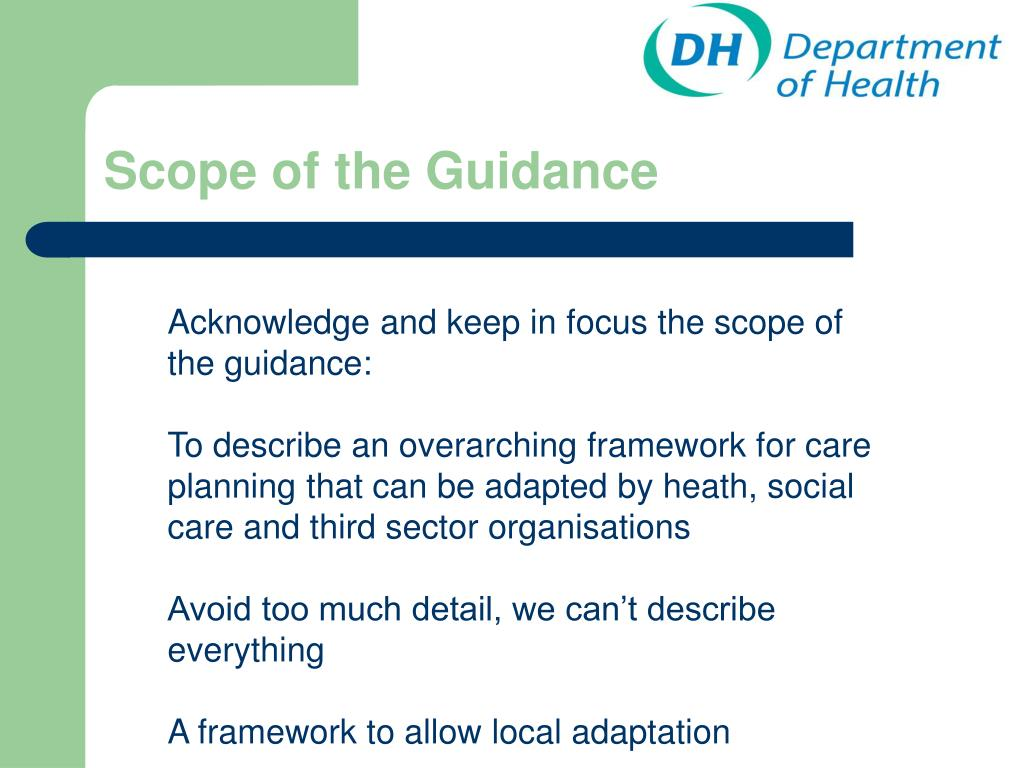 Scope of the Guidance