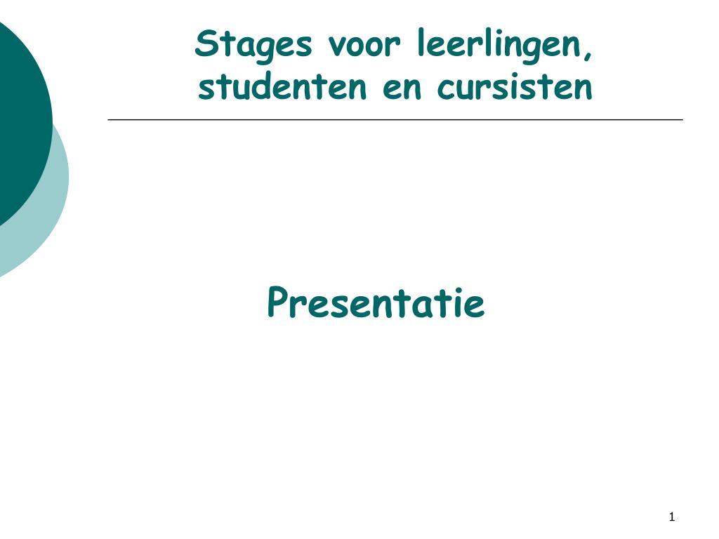stages voor leerlingen studenten en cursisten l.