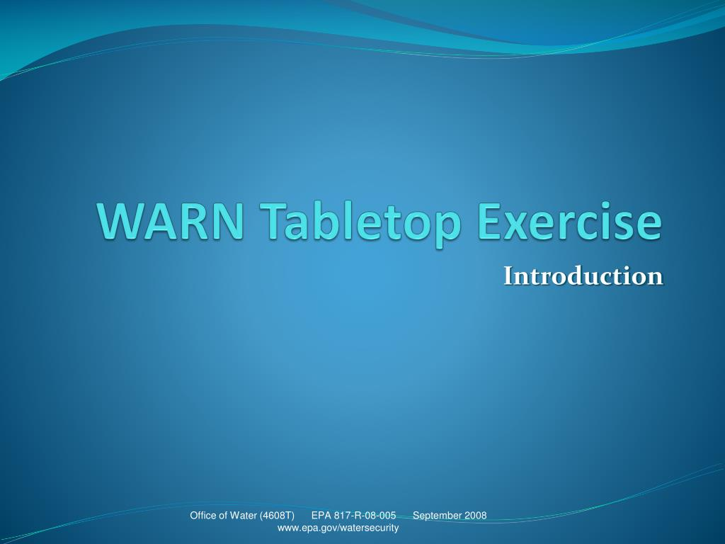 warn tabletop exercise l.