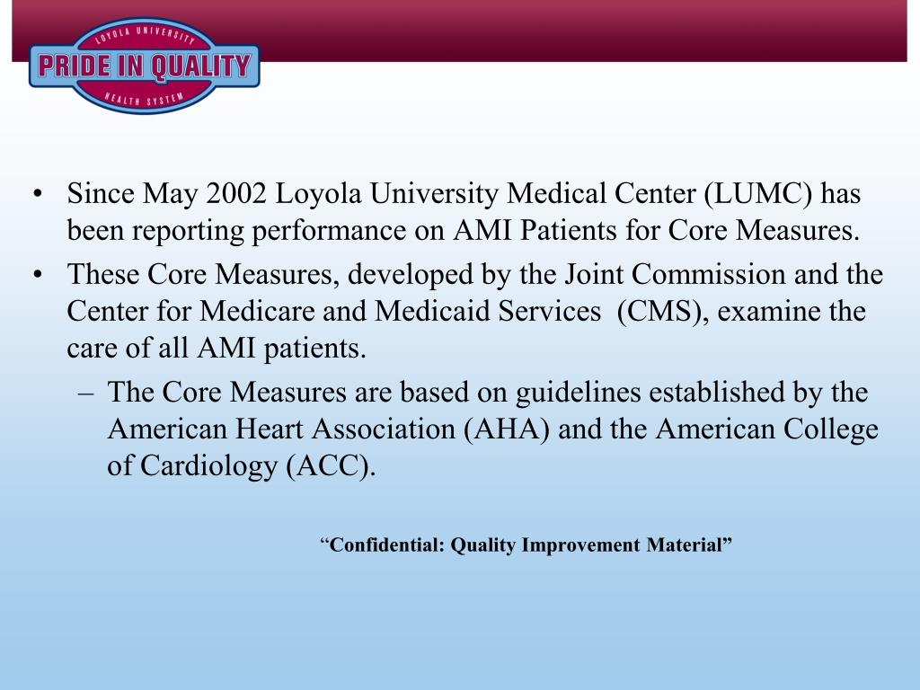 Since May 2002 Loyola University Medical Center (LUMC) has been reporting performance on AMI Patients for Core Measures.