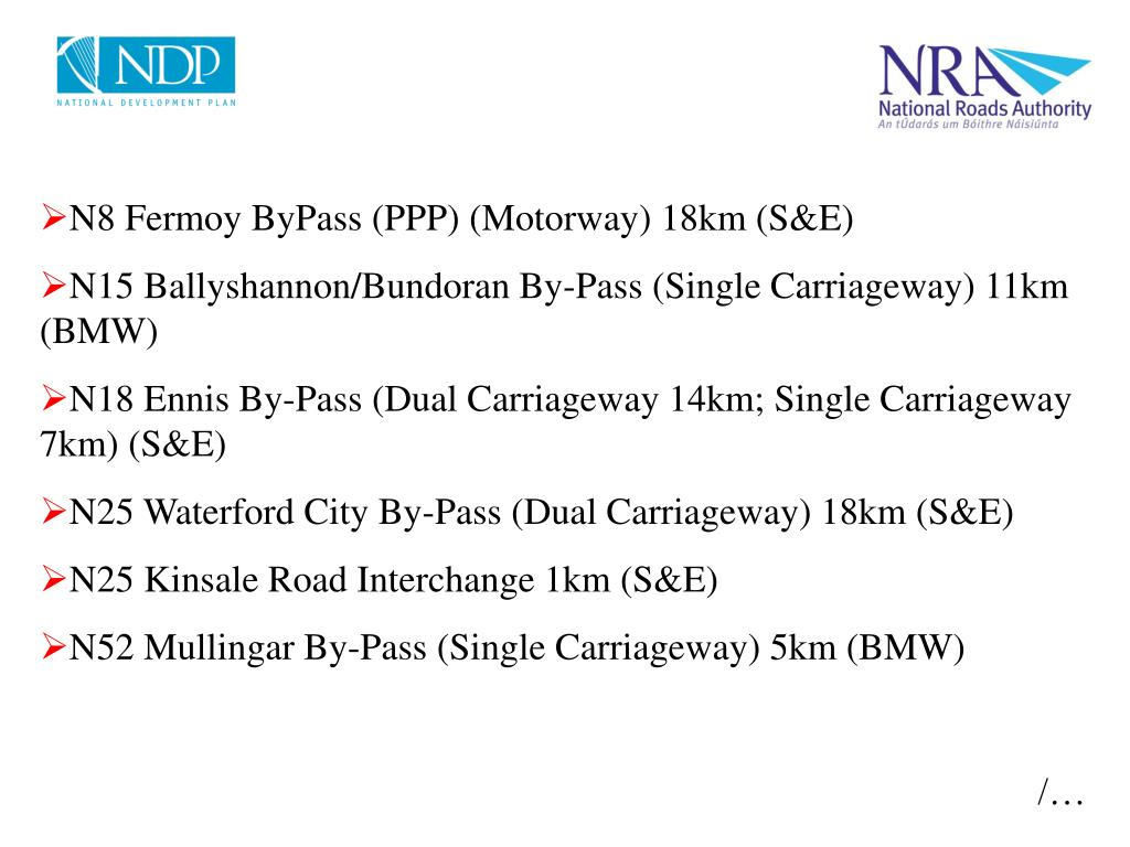 N8 Fermoy ByPass (PPP) (Motorway) 18km (S&E)