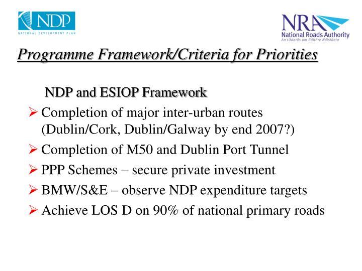 Programme Framework/Criteria for Priorities