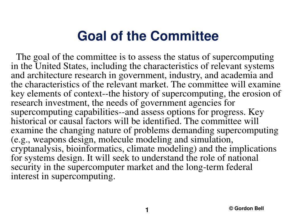 goal of the committee l.