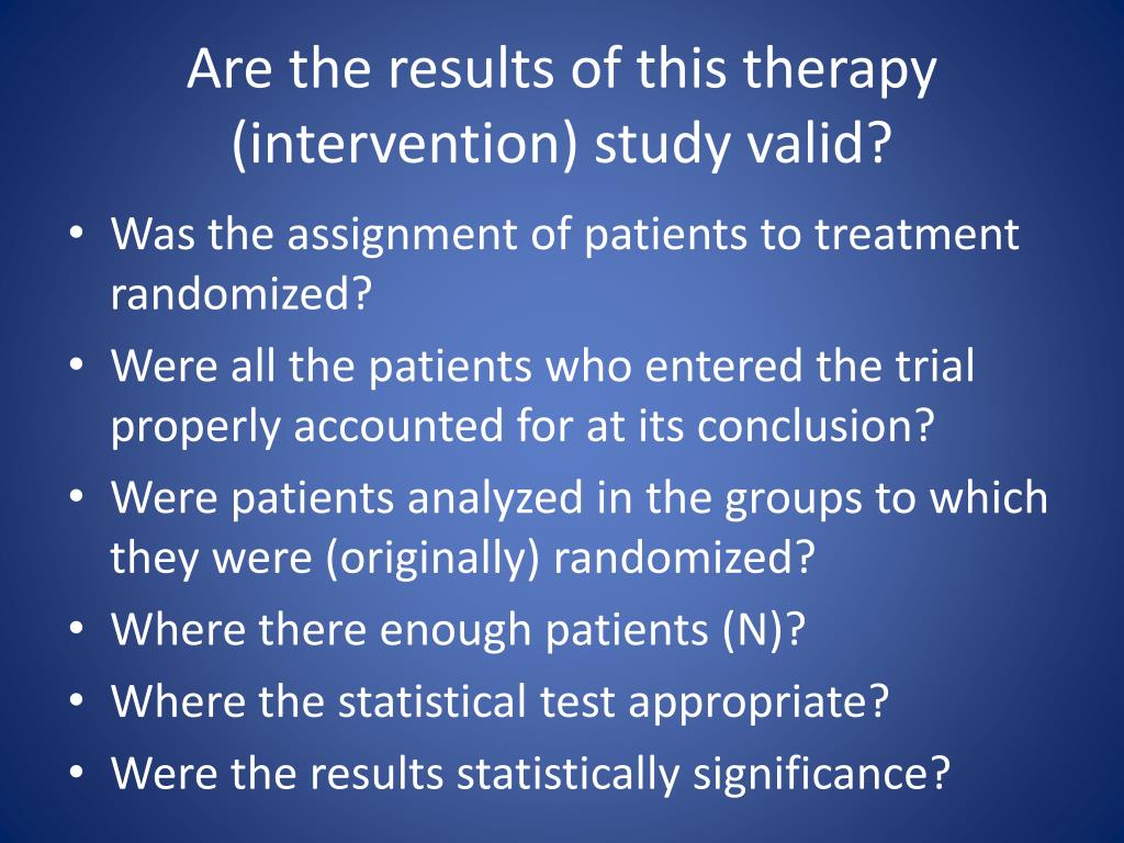 Are the results of this therapy (intervention) study valid?