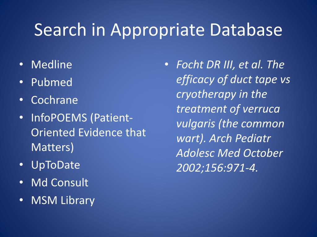 Search in Appropriate Database