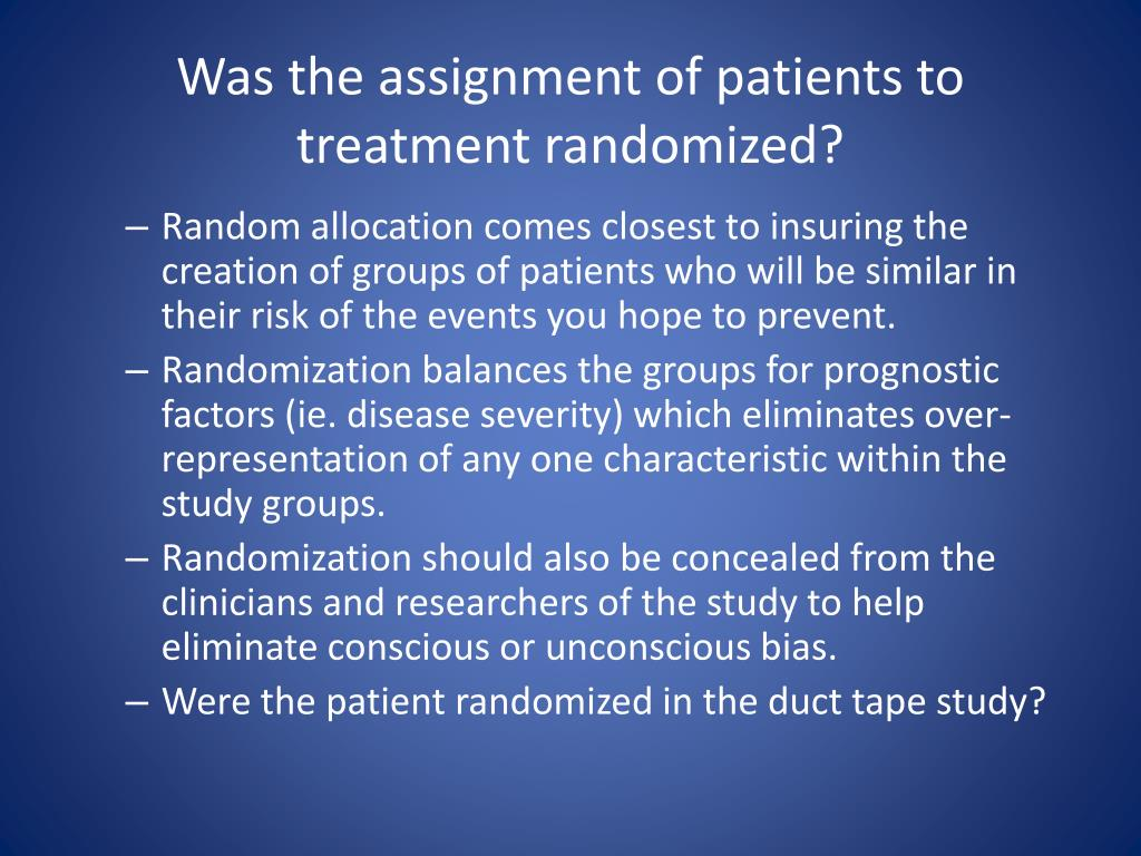 Was the assignment of patients to treatment randomized?