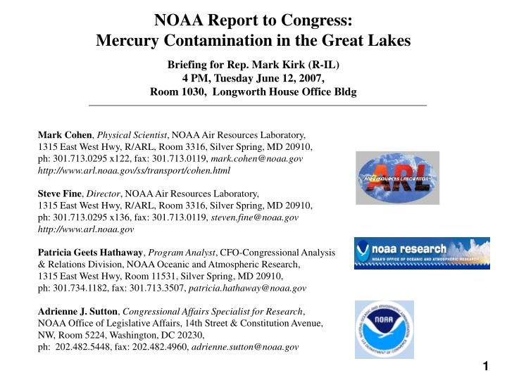 noaa report to congress mercury contamination in the great lakes n.