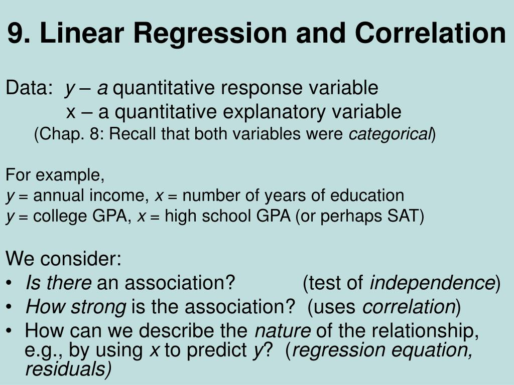 9 linear regression and correlation l.