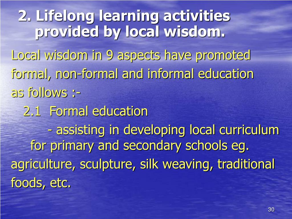 2. Lifelong learning activities