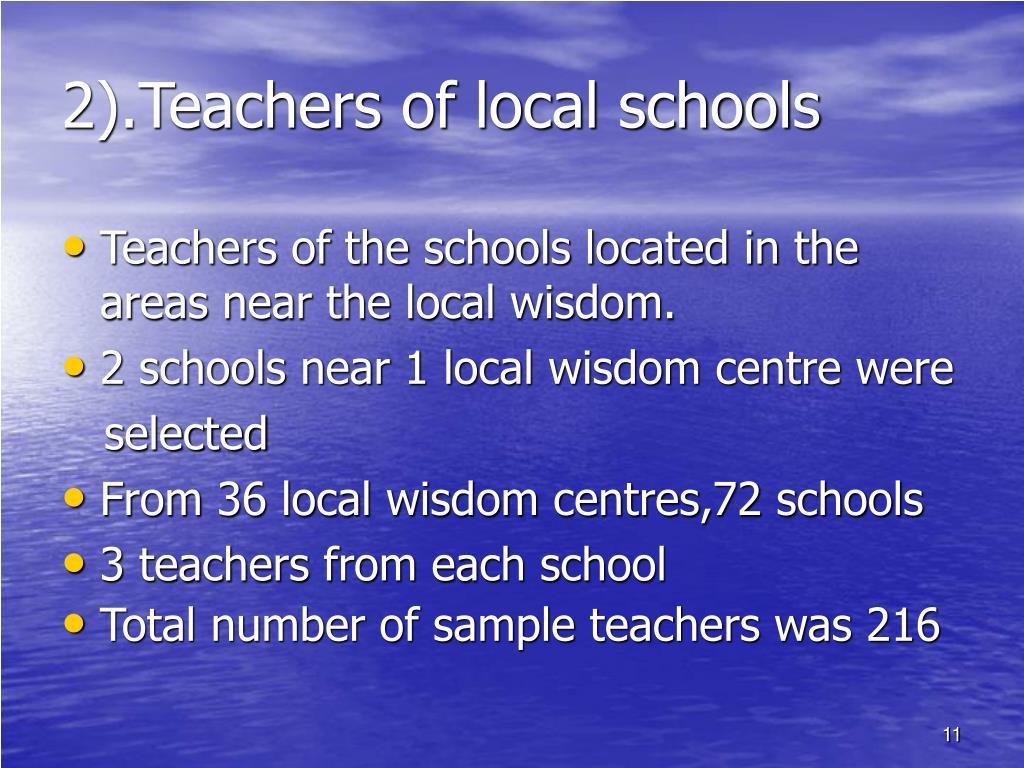 2).Teachers of local schools