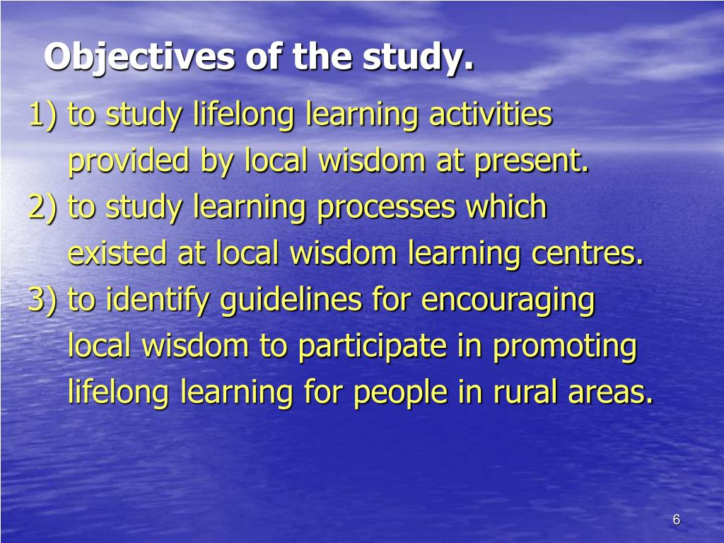Objectives of the study.