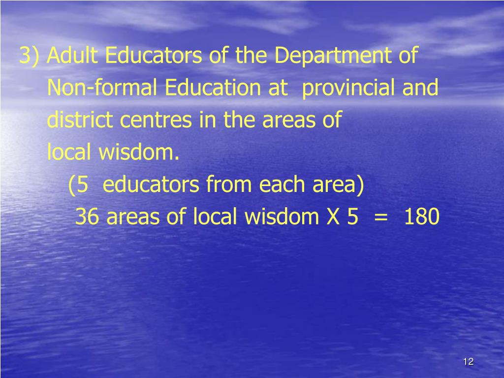 3) Adult Educators of the Department of