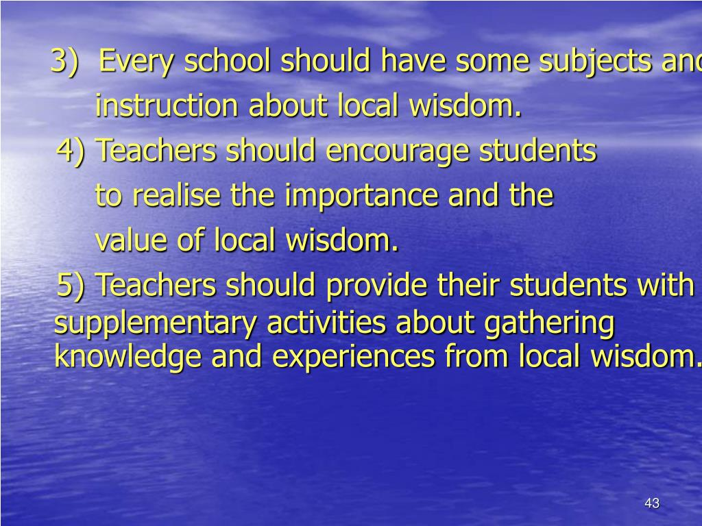 3)  Every school should have some subjects and