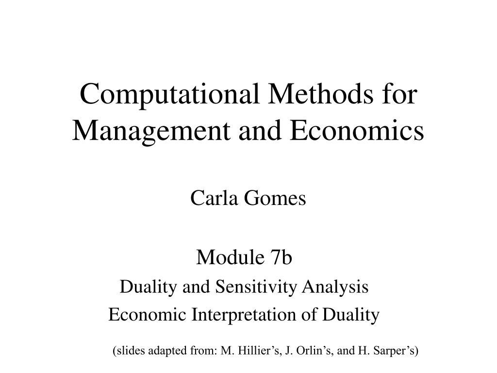 computational methods for management and economics carla gomes l.