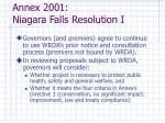 annex 2001 niagara falls resolution i