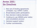 annex 2001 six directives