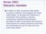 annex 2001 statutory mandate