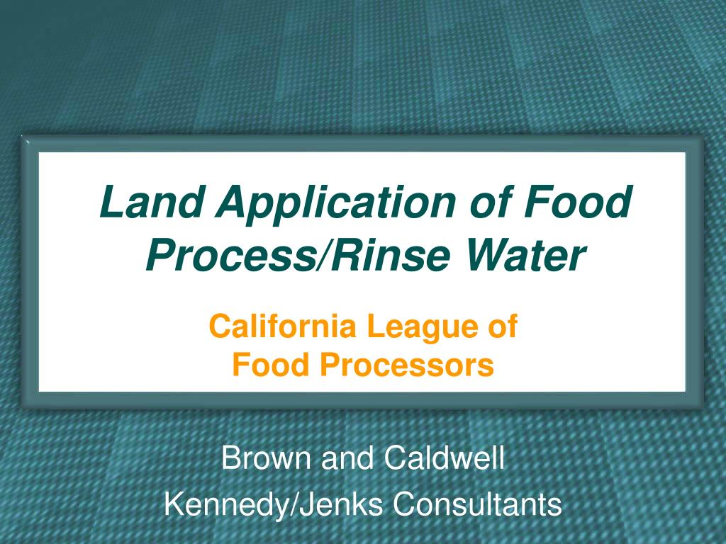 land application of food process rinse water l.