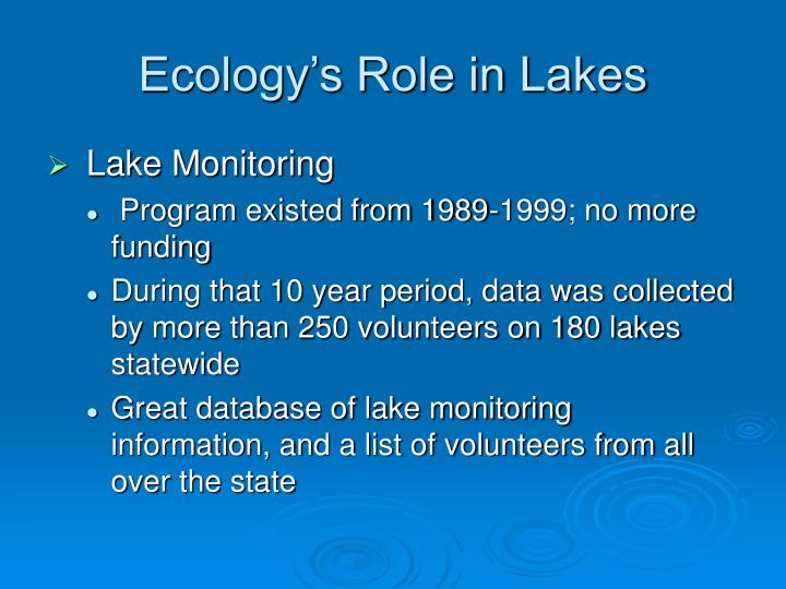 Ecology s role in lakes