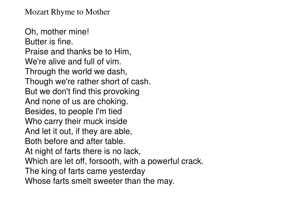 Mozart Rhyme to Mother