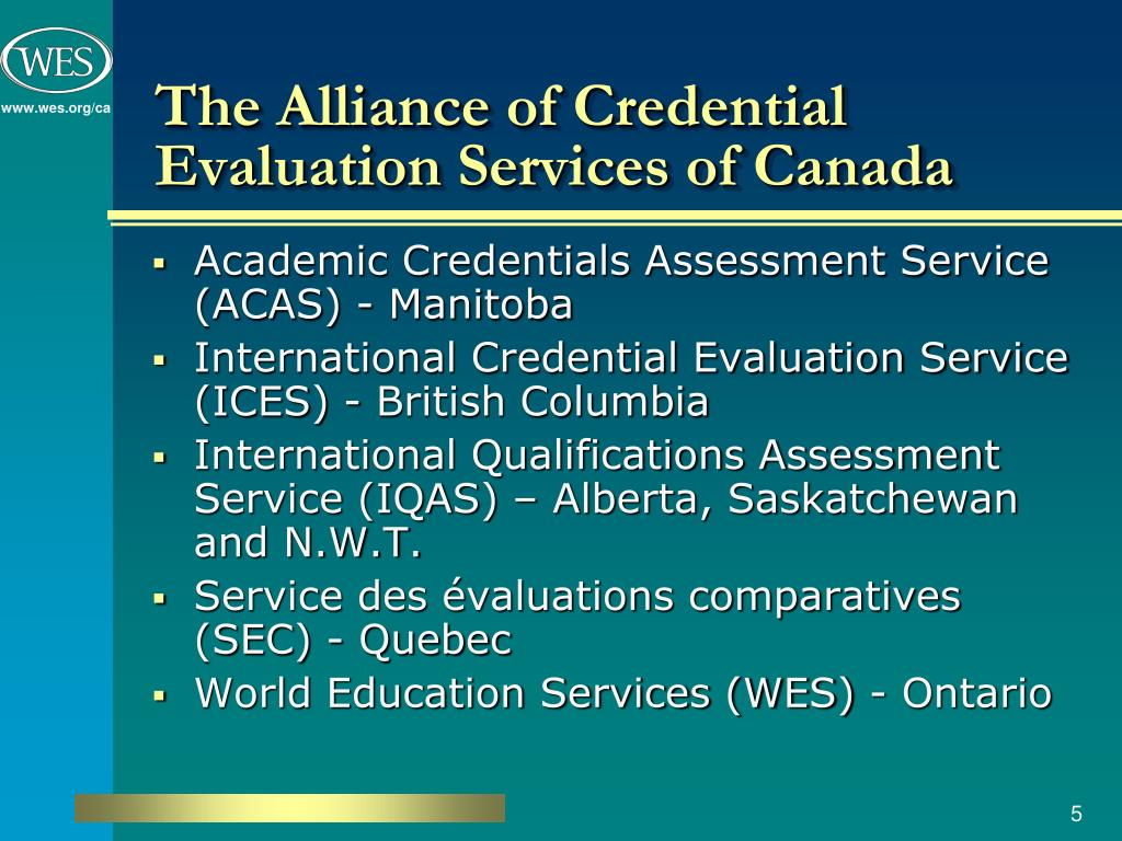 PPT - Foreign Academic Credential Recognition in Canada TESL