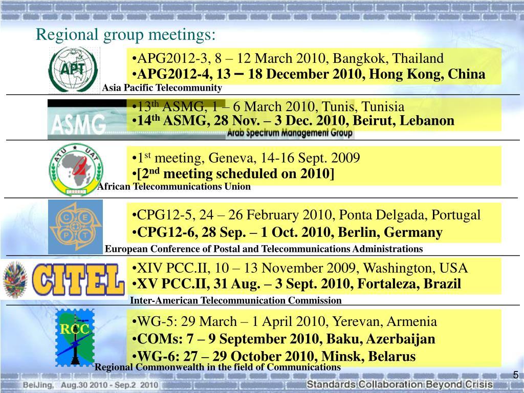 Regional group meetings: