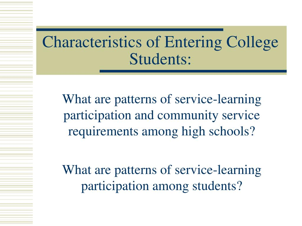 Characteristics of Entering College Students: