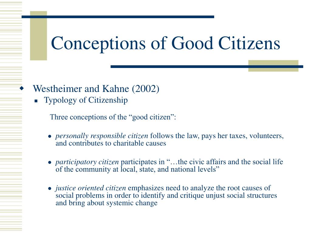 Conceptions of Good Citizens